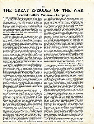 World War 1, General Botha's Victorious Campaign, 6 Pages