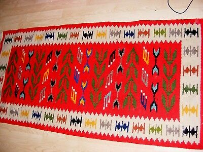 Vintage Native American Wool Rug Geometric Design Bright Red Corn Pattern 52""