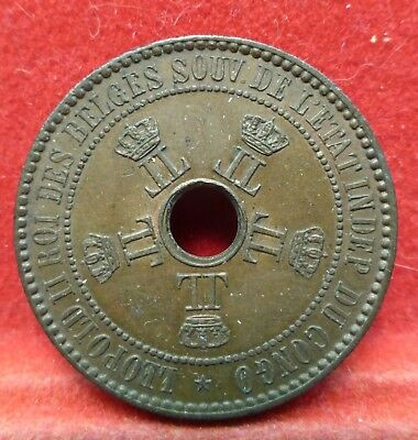BELGIAN CONGO FREE STATE 1888 8/7  5 Centimes AU/UNC Coin