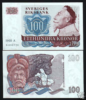 SWEDEN 100 KRONER P54a 1968 KING ADOLF 1628 SHIP UNC RARE CURRENCY MONEY NOTE