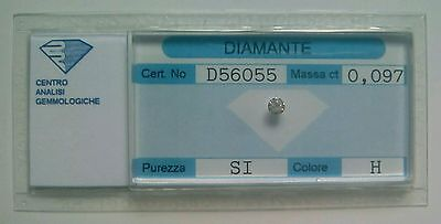 Saldi!!!  Diamante naturale certificato in blister 0.097 ct. H SI