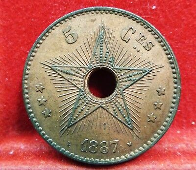 BELGIAN CONGO FREE STATE 1887  5 Centimes AU/UNC Coin w Luster