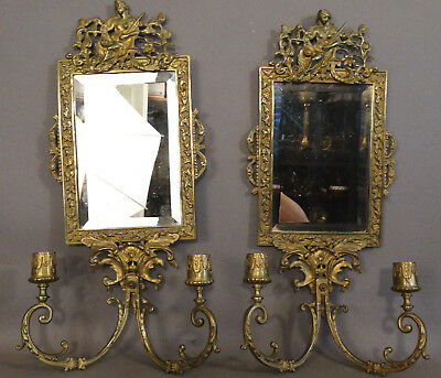 (2) 19thC Antique VICTORIAN Era BRASS LADY JUSTICE Scales & Sword MIRROR SCONCES