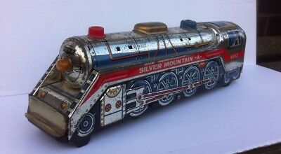 Vintage SILVER MOUNTAIN Tin Plate TRAIN Made in JAPAN