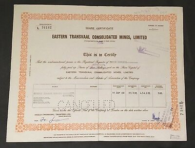 South Africa 1968 Eastern Transvaal Consolidated mines