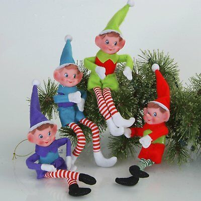 Colorful CHRISTMAS PIXIE ELVES Figurines Bendable NEW Set 4 Retro Holiday