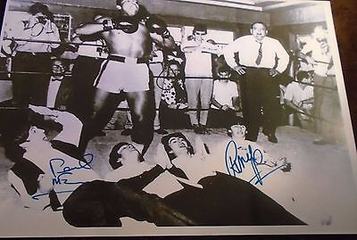 Muhammad Ali in a Pose with The Beatles A4 Signed Print *Rare*