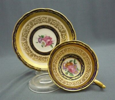 Wide HAND PAINTED Paragon England Bone China Cobalt Gold Flora Tea Cup & Saucer