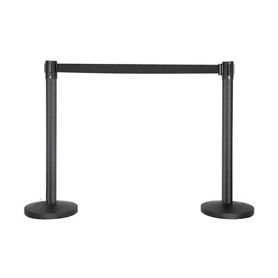 Crowd Control Stanchion Queue Barrier Posts with Retractable Belt Black J8Z7