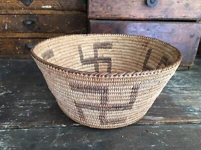 Native American Basket Pima With Whirling Log Pictorals