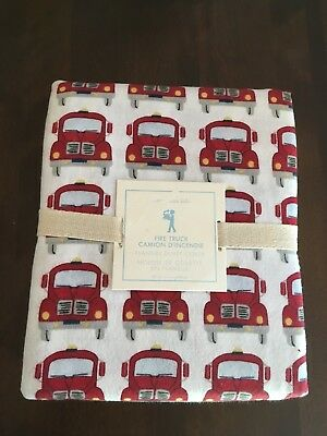 Pottery Barn Fire Truck Duvet Cover NWT Twin Flannel