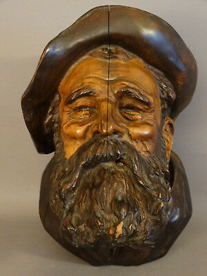 19thC Antique GERMAN BLACK FOREST Wood CARVED Old West GOLD RUSH Tobacco HUMIDOR
