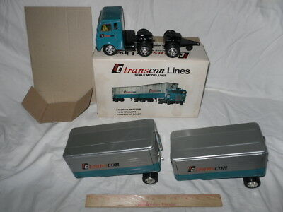 Vintage 60s Japan TC Transcon Lines Tin Friction Tractor Double Van Trailer