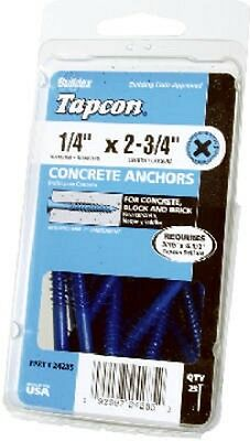 """ITW Tapcon, 25 Pack, 3/16"""" x 2-3/4"""" Phillips Flat Head Concrete Anchors 24265"""