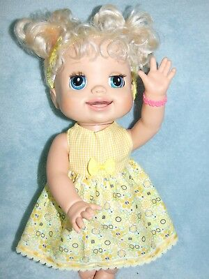 BABY ALIVE 40cm Dolls Clothes / DRESS & HEADBAND /  yellow flowers