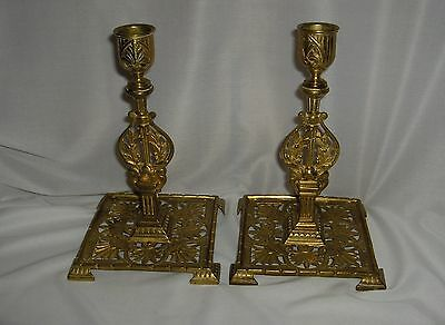 Pair Vintage-Antique Townsend Ornate Solid Brass Candlesticks Candle Holders