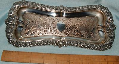 Antique Pen Tray Silver Plate on Copper Engraved Design Birds Flowers c1900?