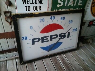 Very Rare Large Vintage Pepsi Speedometer Style Metal Sign Thermometer c. 1965