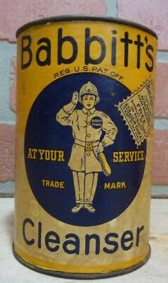 Old BABBITT'S CLEANSER 'At Your Service' Container Tin made in USA unopened