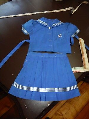 vintage sailor dress girls wedding toddler 1950s pageant skirt top pleated navy