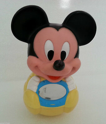 Disney 1984  Mickey Mouse Roly Poly Chime Vintage Baby Musical Yellow Black Toy
