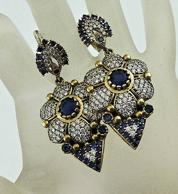 Antique Style Dangle Earrings Silver Plated,sapphire Blue & White Crystal