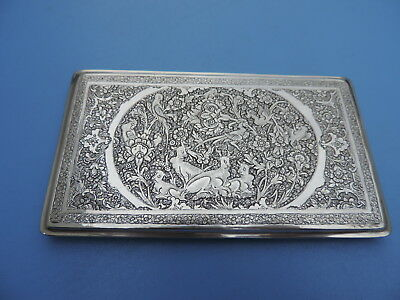 SOLID SILVER ANTIQUE SIGNED PERSIAN ISLAMIC CIGARETTE CARD CASE 187 gr 6.6 oz