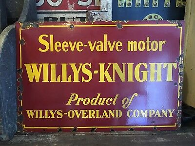 Original Willys Knight Sleeve Valve Motor Porcelain Sign Willys Overland