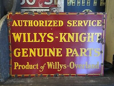 Original Willys Knight Genuine Parts & Service Porcelain Sign Willys Overland