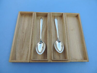 Pair Japanese Solid Sterling Silver 950 Spoons Perfect Birthday Gift W Box Japan