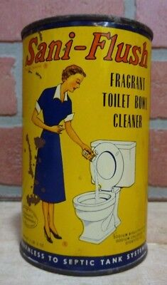Old SANI-FLUSH FRAGRANT TOILET BOWL CLEANER Poison Container Tin made in USA