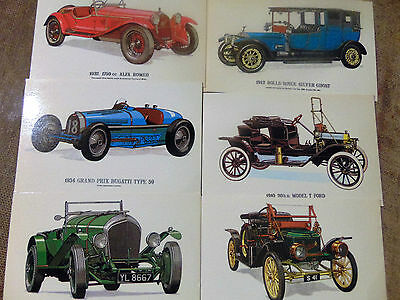 6 modern coloured postcards featuring vintage motor cars as per picture unused