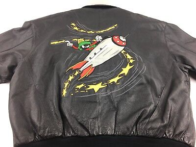 Vintage Authentic Looney Tunes Acme Leather Jacket Marvin the Martian Mens L