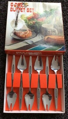 1970's STAINLESS STEEL 6 PIECE BUFFET CUTLERY SET, ORIGINAL BOX,amethyst Design