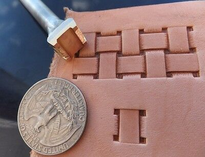 013-19 Quadratic Basket Handmade Brass Leather Stamp collectibiles