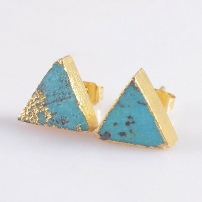 10mm Triangle Natural Genuine Turquoise Stud Earrings Gold Plated T047132