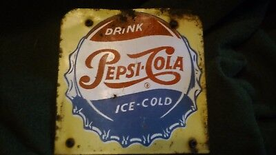 Rare Vintage 1950S Drink Pepsi Cola Ice Cold metal Sign for display rack 6 1/4""
