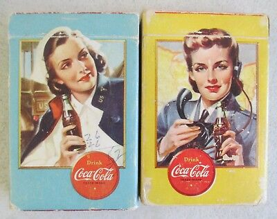 Pair Of Coca Cola Ww Ii Airplane Spotter Blue And Yellow Decks W/original Boxes