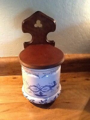 Vintage Blue Onion Danube Pattern Porcelain and Wood Wall Mount Salt Flour Box