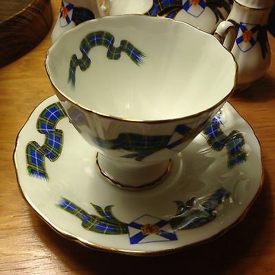 Adderley Bone China Made in England Cup and Saucer Nova Scotia Tartan Excellent