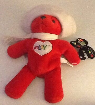 """2000  EBAY OFFICIAL RED BEAN BAG TOY"""" BETSY BEAR""""- NEW WITH Tags HAT & SCARF"""