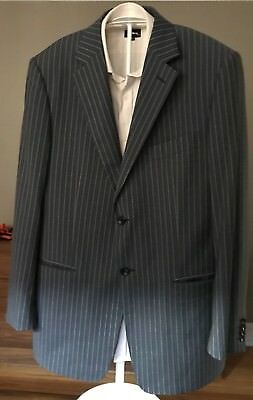 Pal Zileri Lab 100% Wool Navy Striped Mens Suit 44R, 36 X 31 Made In Italy EUC