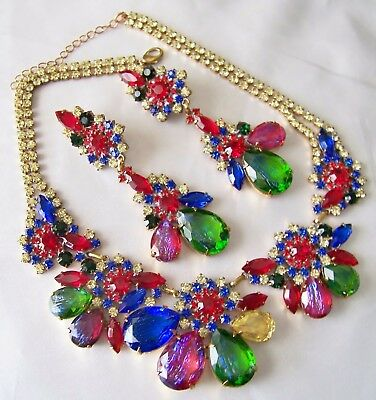 Czech Dragon's Breath Fruit Cocktail Rhinestone & Glass Couture Necklace Set