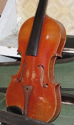Old German  Violin W/Case and bow - For Parts Or Restoration