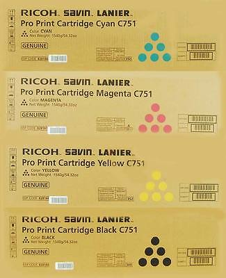 Ricoh Lanier Savin Genuine C751 C651 Cmyk Toner Cartridge Set