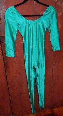vintage 80s catsuit spandex dance onsy shiny liquid satin emerald green gilda