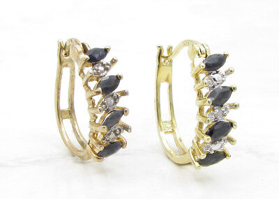 925 Silver & 18K Gold VICTORIA TOWNSEND Sapphire & Genuine Diamonds Earrings 3g