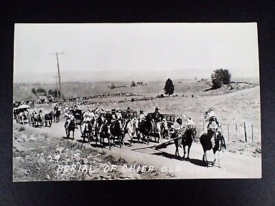 Native-American Rppc Burial Of Chief Old Joseph Indians & Autos Procession