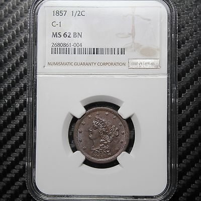 1857 Half Cent NGC MS62 - VERY ATTRACTIVE!  (61004)