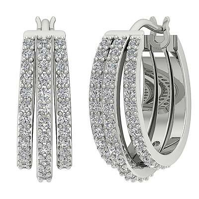 Hoops Earrings VVS1 F 1.01Ct Genuine Diamond 14Kt White Gold Appraisal Prong Set